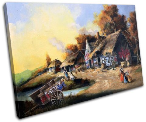 Graffiti Cottage Banksy Painting - 13-1021(00B)-SG32-LO